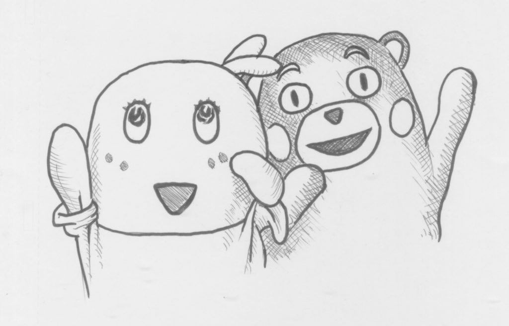 My doodle of Kumamon and Funyassi. Clearly I'm going to have my work cut out if I'm going to try to design such characters myself.